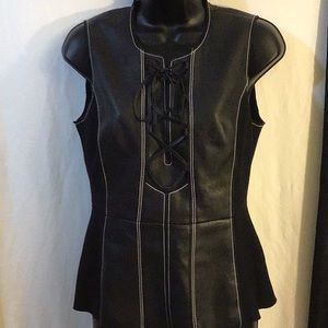 BCBGMAXAZRIA Black Sleeveless W/Faux Leather Small
